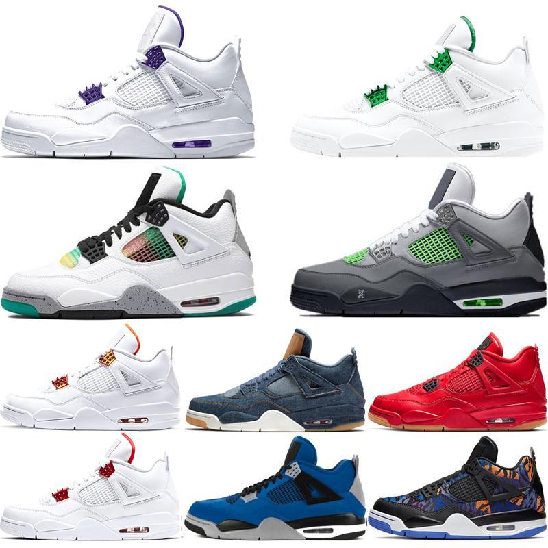 retros shoes 2019 nouveau 4s Singles Day Basketball Chaussures Hommes Green Glow Blanc Ciment NRG Raptors Noir Pizzeria FIBA cool gris Bred Sport Baskets 40-47