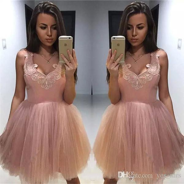 2020 Dusty Pink Short Mini A Line Homecoming Dresses V Neck Lace Applique Sleeveless Tulle Spaghetti Straps Plus Size Party Cocktail Gowns