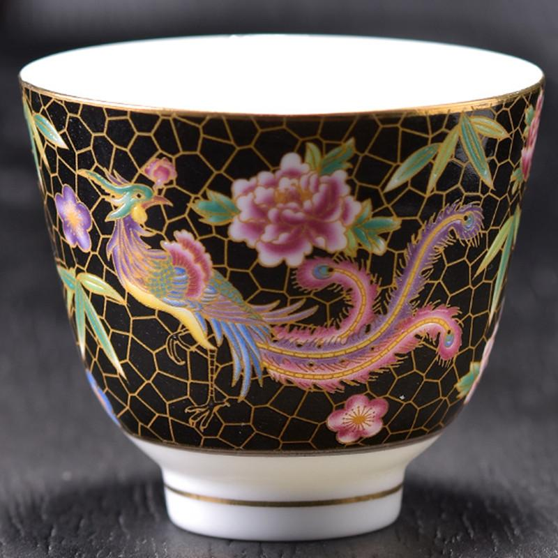 Ceramic PhoenixTea Cup Enamel Porcelain Tea Cup Small Tea Bowl As Collection Birthday Gifts Flower Master Puer Tea Cups
