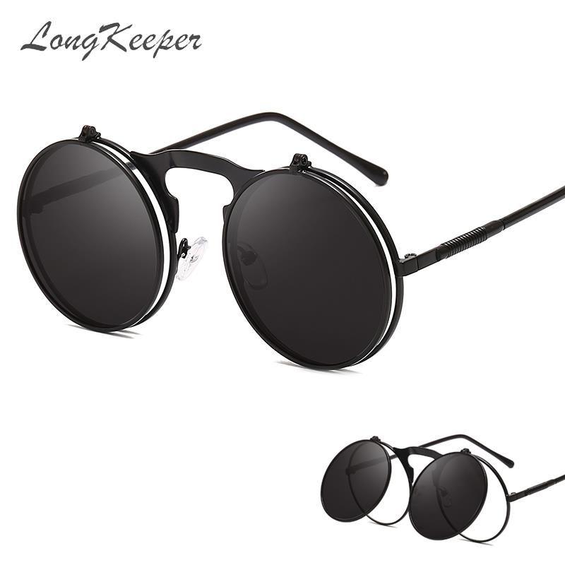 LongKeeper dobráveis Punk Sunglasses Mulheres Único Homens Lens Duplo Tinted Steampunk Óculos