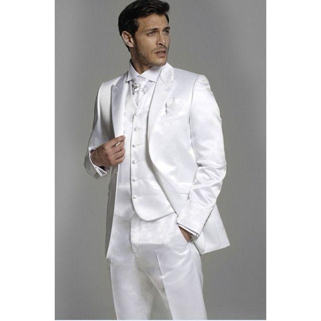 Nova marca Brilhante Branco Mens Ternos Groomsmen Pico Lapela Noivo Smoking Casamento Melhor Terno Dos Homens 3 Peças (Jacket + Pants + Tie + Vest)