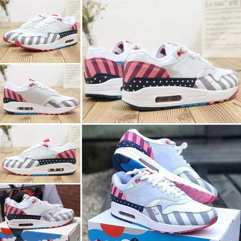 Nike air max 87 Piet Parra x 1 Белый Multi Rainbow 87 Кроссовки с оригинальной коробкой 87 Женщины Мужчины Кроссовки Спортивные кроссовки бесплатная доставка