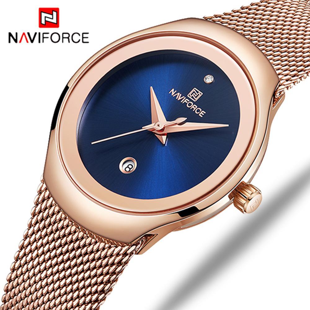 Naviforce Moda Oro Mujer Reloj de Cuarzo Ocasional Impermeable Simple Reloj de pulsera de Regalo Para Niñas Esposa Saat Relogio Feminino Y19062402