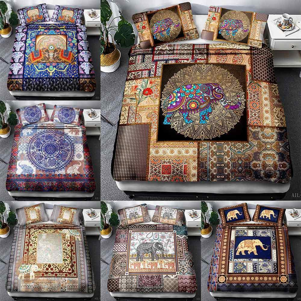 3D bedding suit, elephant national style mosaic 3pcs queen custom designer bedding luxury duvet cover