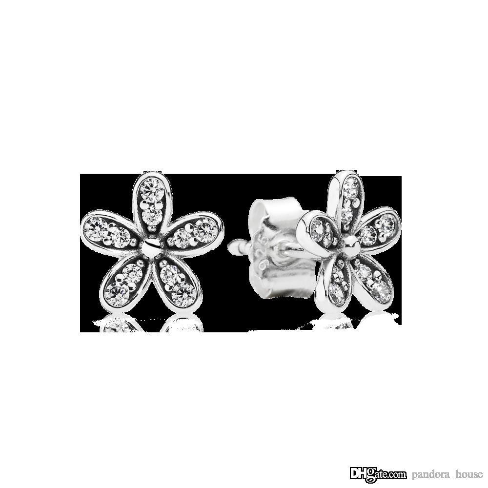 Nueva auténtico real 925 Silver Spring Daisy Pendientes Pandora Stud 290555CZ bricolaje Jewelrynew
