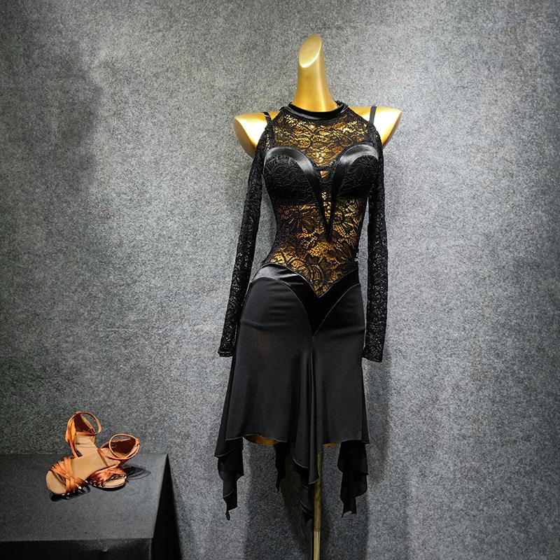 Black Latin Dance Clothes New Latin Costumes Irregular Dress Lace Dance Practice Clothes
