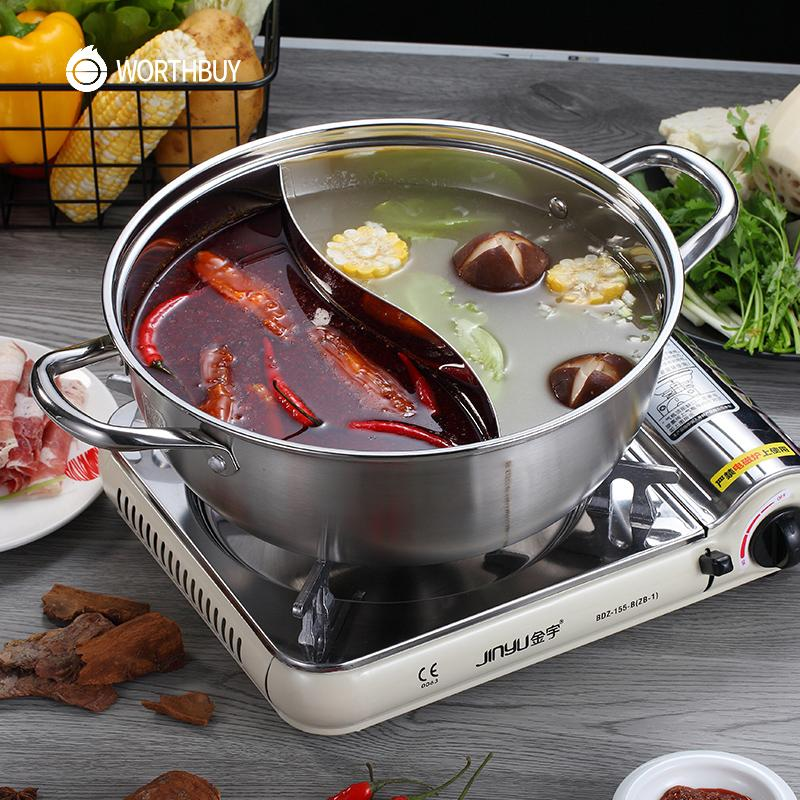 WORTHBUY Chinese 304 Stainless Steel Hot Pot 28/30/32cm Kitchen Soup Stock Pot Cookware For Induction Cookers Cooking Pot T200619