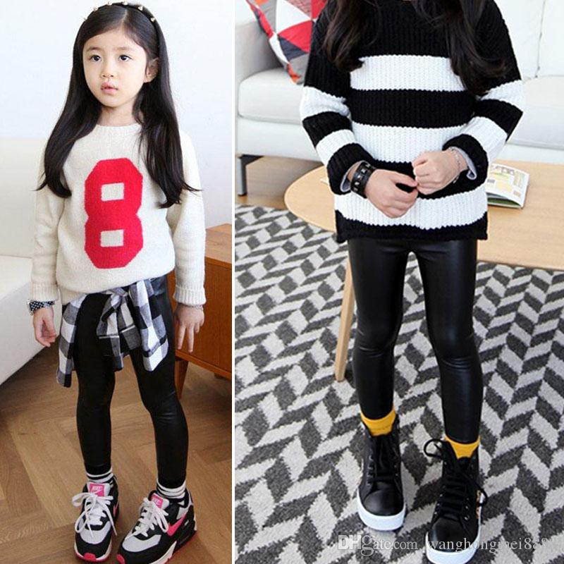 New Autumn Bbay Pants Hot Baby Girls Kids Stretchy Faux Leather Skinny Synthetic Black Pants Leggings Trousers Long Black