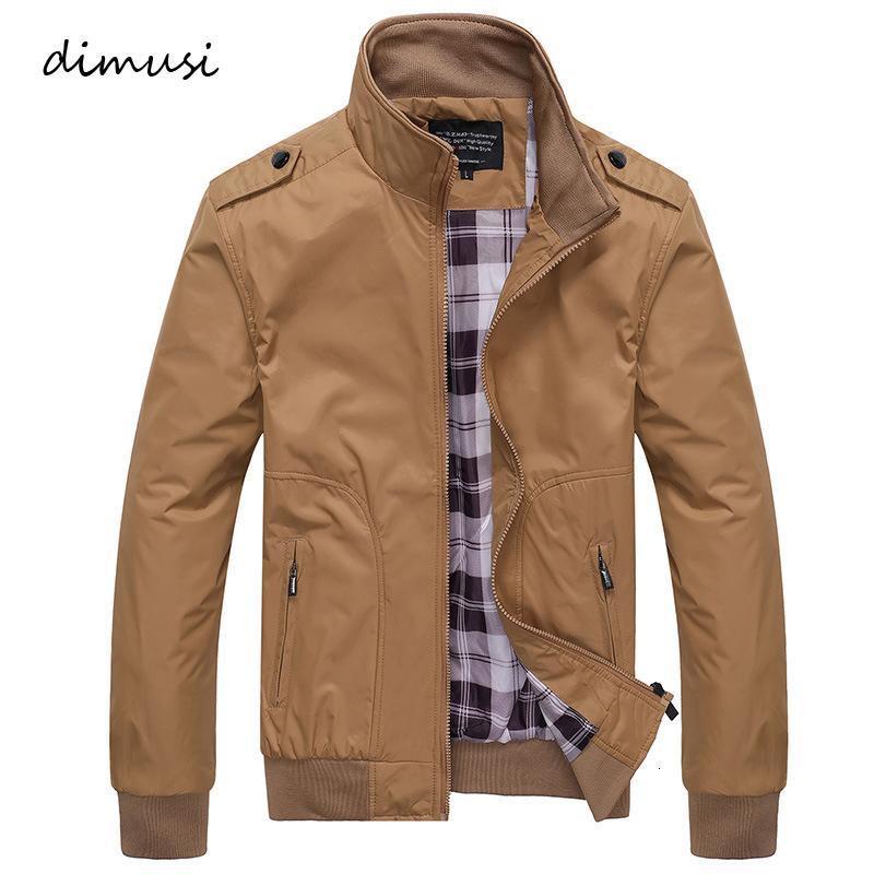 DIMUSI Erkek ceketler İlkbahar Sonbahar Casual Coats Katı Renk Erkek Spor Standı Yaka İnce ceketler Erkek Bombacı ceketler 4XL V191128