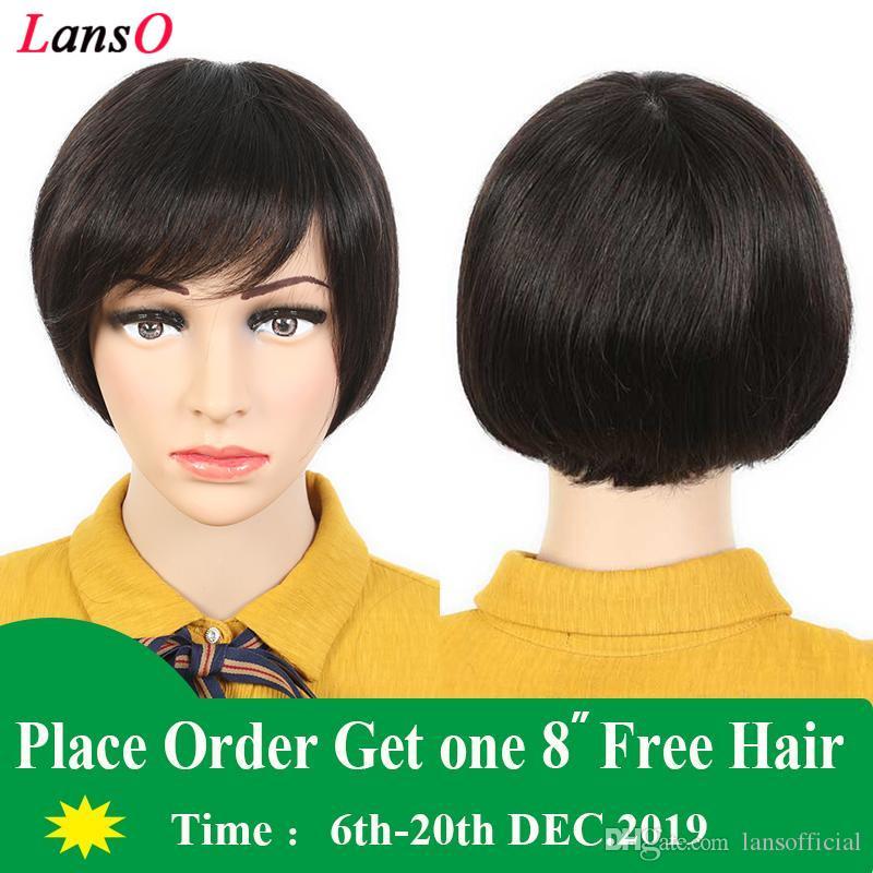 perruque pas cher cheveux humains brésiliens malaisienne courte perruque de cheveux de dentelle Aucun Pixie coupe courte non transformés perruques de cheveux humains de haut grade pour les femmes noires