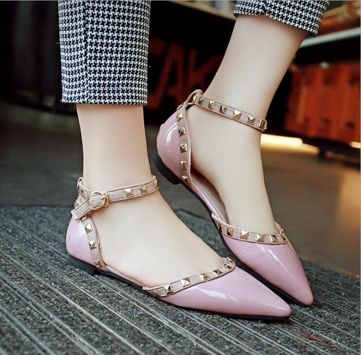 Rivetti moda Donna Scarpe a punta piatta Donna Scarpe a poco profondo colore caramella Scarpe OL Ufficio eleganti fibbie donna Scarpe singole