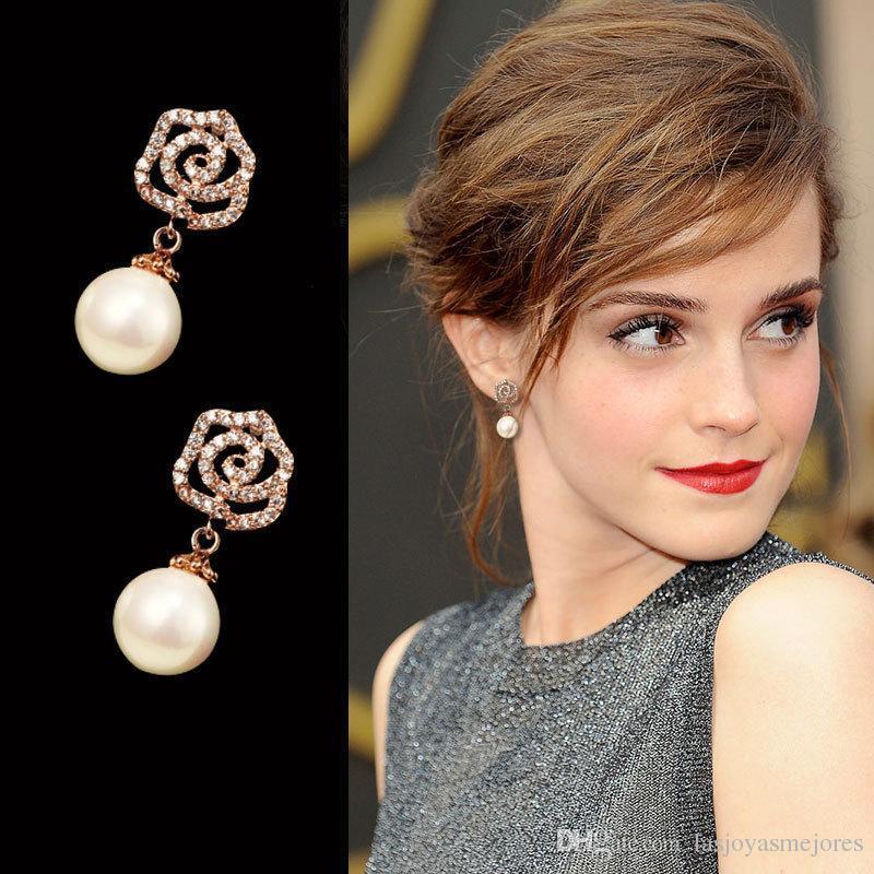 2020 clásico diamante del diseñador de moda súper brillante perla colgante elegentPackage camelia tachonan gota cuelga el pendiente para la mujer niñas