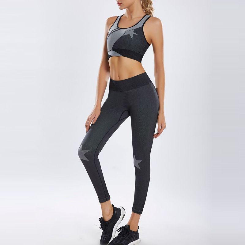 GXQIL 2020 Stampa Suit fitness Donne Sportswear Dry Fit Sport Donna Set stella fredda Palestra Abbigliamento Push Up Workout vestiti Tuta