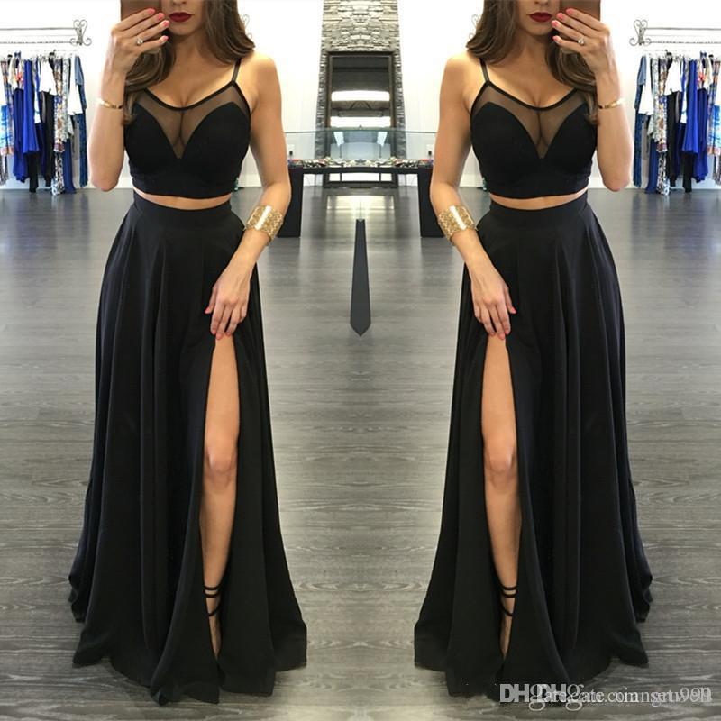 Setwell İki Adet Balo Elbise Spagetti A-line Bölünmüş Yan Seksi Abiye giyim Kat Uzunluk Şifon Özel Durum Elbise