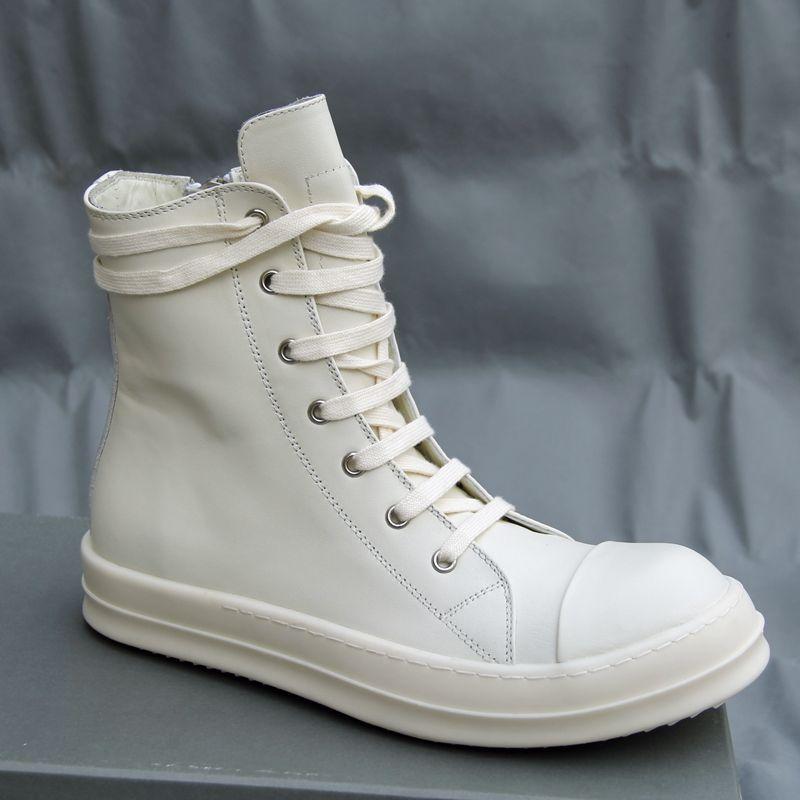 YENI LISTESI HAKIKI DERI Sütlü beyaz bandaj çizmeler moda yüksek gelgit yüksek kaliteli erkekler ve kadınlar çift gelgit krem ayakkabı