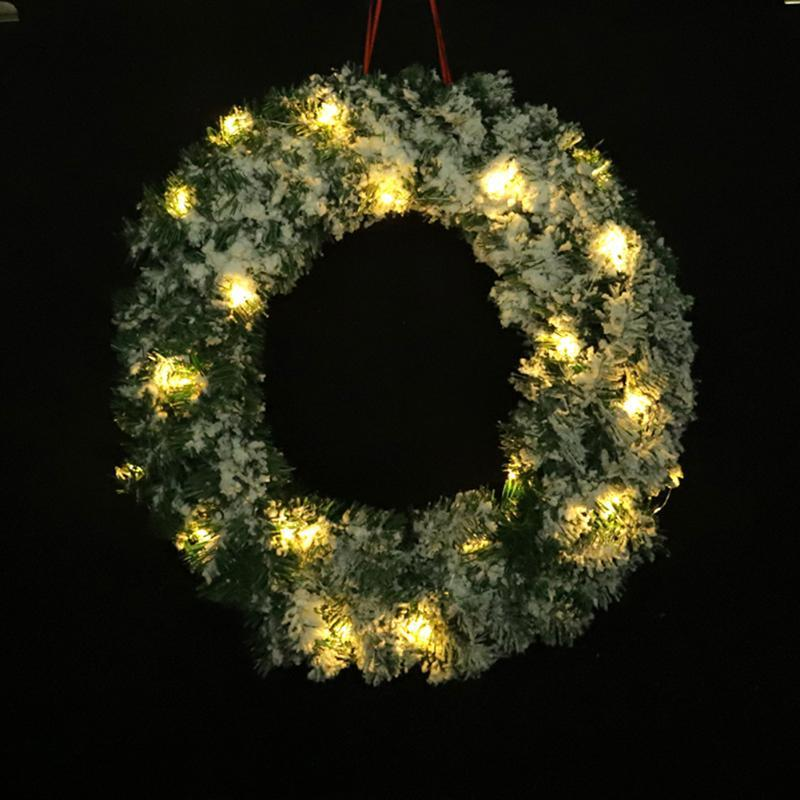 50cm Christmas Hanging PVC Flocking Wreath Front Door Window Garland Holiday Home Xmas Tree Party Decorations Ornament