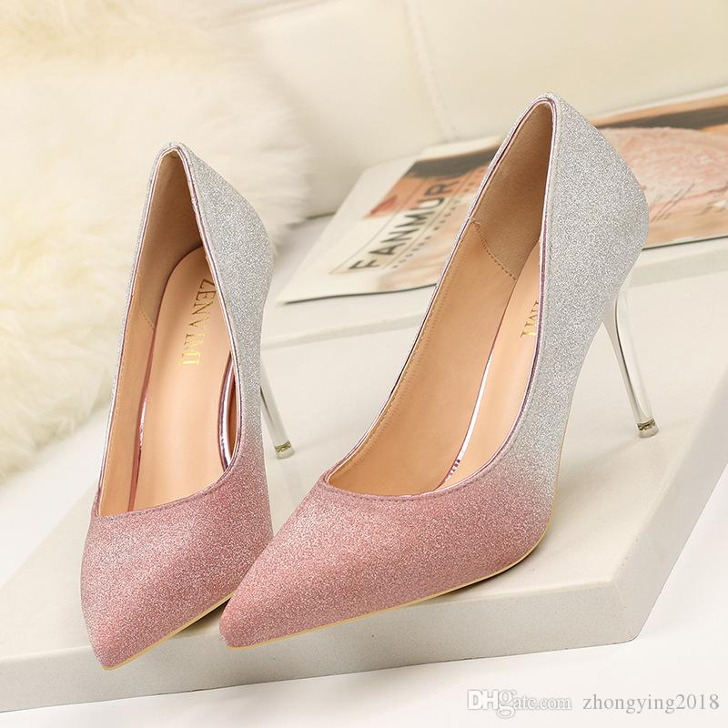 Металлический каблук Женские туфли на шпильках Женские блестящие туфли на высоком каблуке с открытым носком туфли-лодочки с острым носом Евро градиент цвета туфли женские туфли zy269