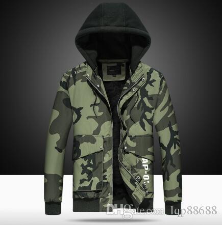 Giacca da uomo in cotone da uomo nuova più cappotto imbottito in velluto camouflage con cappuccio Capispalla