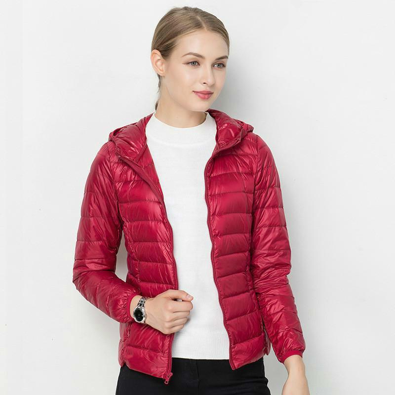 [Aiweier] Nueva Abajo capas de las mujeres prendas de vestir abrigos esquimales Otoño Invierno sólido de corta mujer de la cremallera con capucha de Down finas chaquetas Chalecos para las señoras