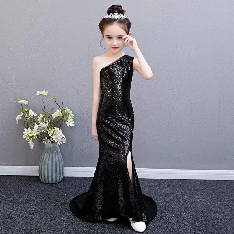 Manches princesse noire Robe pailletée de bébé Vêtements fille Enfants Robe de mariée Robe de fête d'anniversaire Trailing Costume Y477