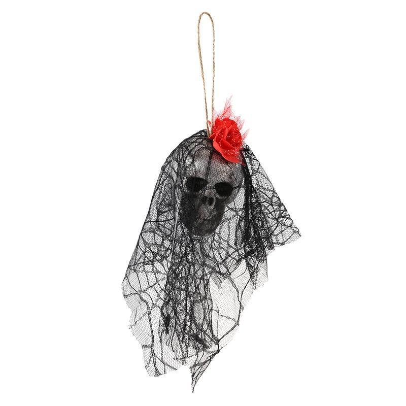 Hanging Sorcière Prop animé squelette fantôme effrayant cour extérieur Décor Halloween rouge + noir