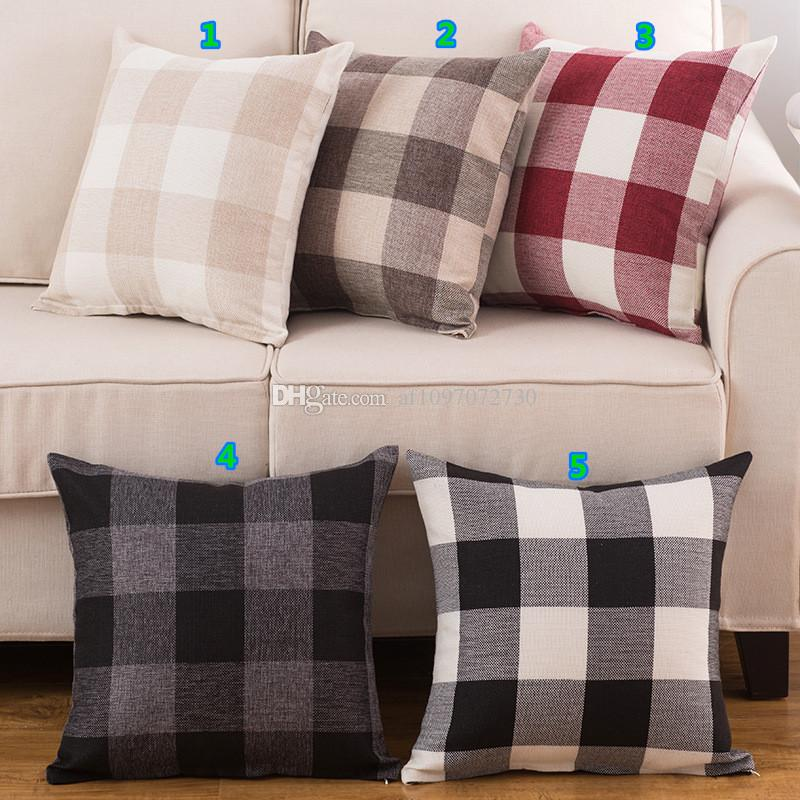 Amazon Explosion Checkered Pillowcase Linen Classic Large Lattice Pillow  Covers Promotional Gift Sofa Cushion Covers Pillows 18inch Patio Set  Cushions ...