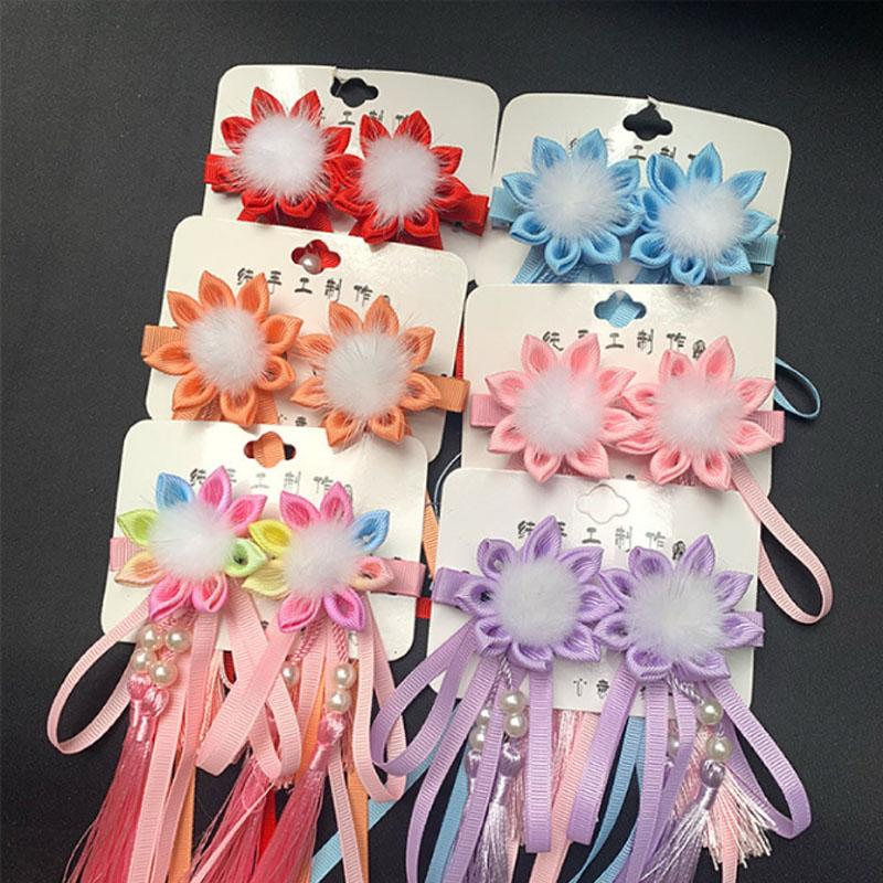Hair Clips Ken-tsumami Kanzashi Ornament For Kids Handmade Kimono Yukata Outfit for Geisha Shichi-go-san Festival Gift HW060