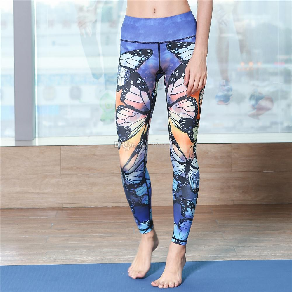 Womens High Waisted Yoga Pants Sports Workout Leggings Quick Dry Running Riding Fitness Dance Trousers Sexy Print Elastic Tight Skinny Pants