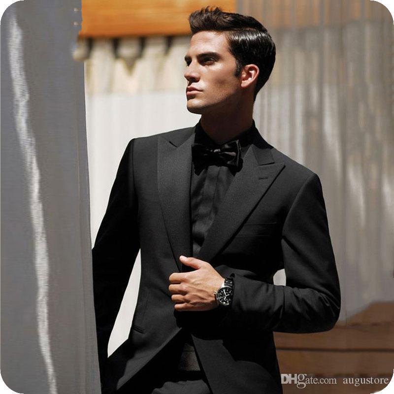 Herren Anzüge für die Hochzeit Schwarzer Bräutigam Smoking 2-teilig (Mantelhose) Weite Revers Kostüm Herren Hübscher Terno Masculino trajes de hombre