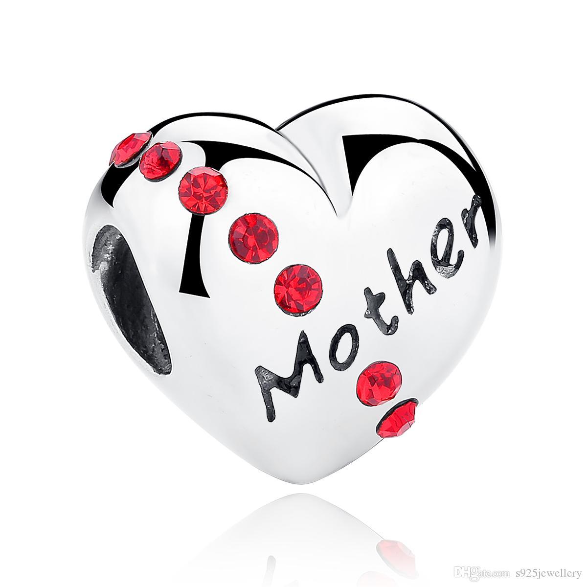 Romantische 925 Sterling Silber Erstellt Stein Herz Mutter Wort Perlen Charms Fit Armband Geschenk für Mothe