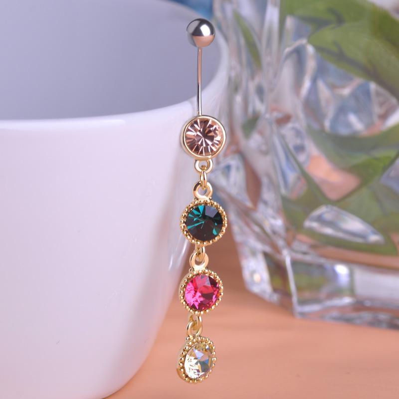 Anillos de campana de ombligo largos de mezcla de cuatro colores Anillos de botón de ombligo de perforación de diamantes de imitación redondos de color dorado para mujeres Piercing corporal Nombril