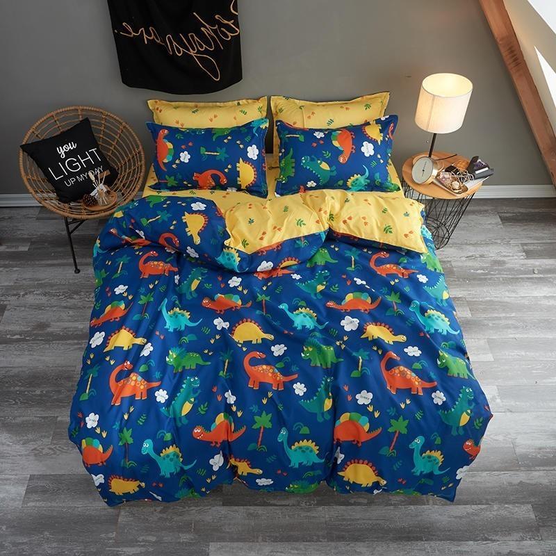 만화 공룡 침구 이불 침구 어린 소년의 이불 커버 침대 시트를 설정 베갯잇 왕 여왕 전체 트윈 크기를 설정합니다