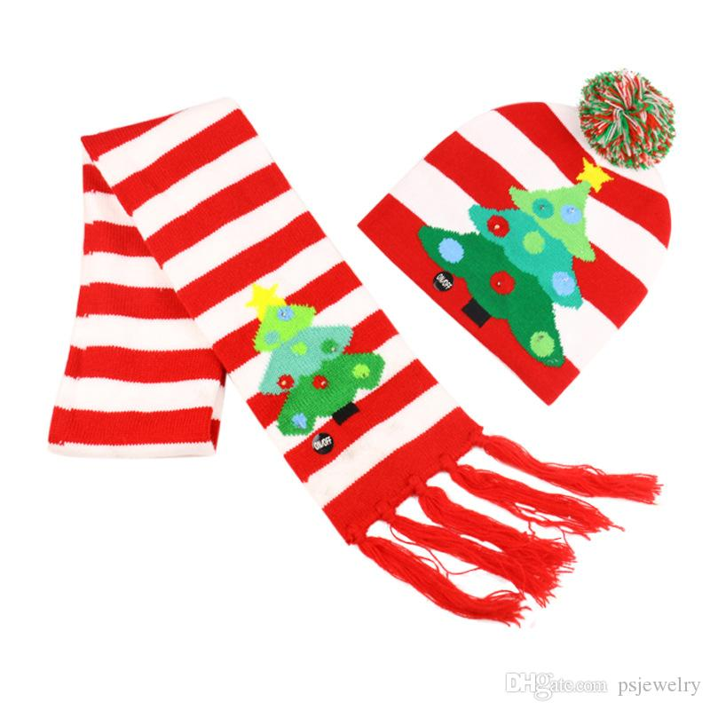 Designs Led Christmas Hats Beanie Scarf Sweater Christmas Santa Hat Scarf Light Up Knitted Hat Scarf Set for Kid Adult for Christmas Party