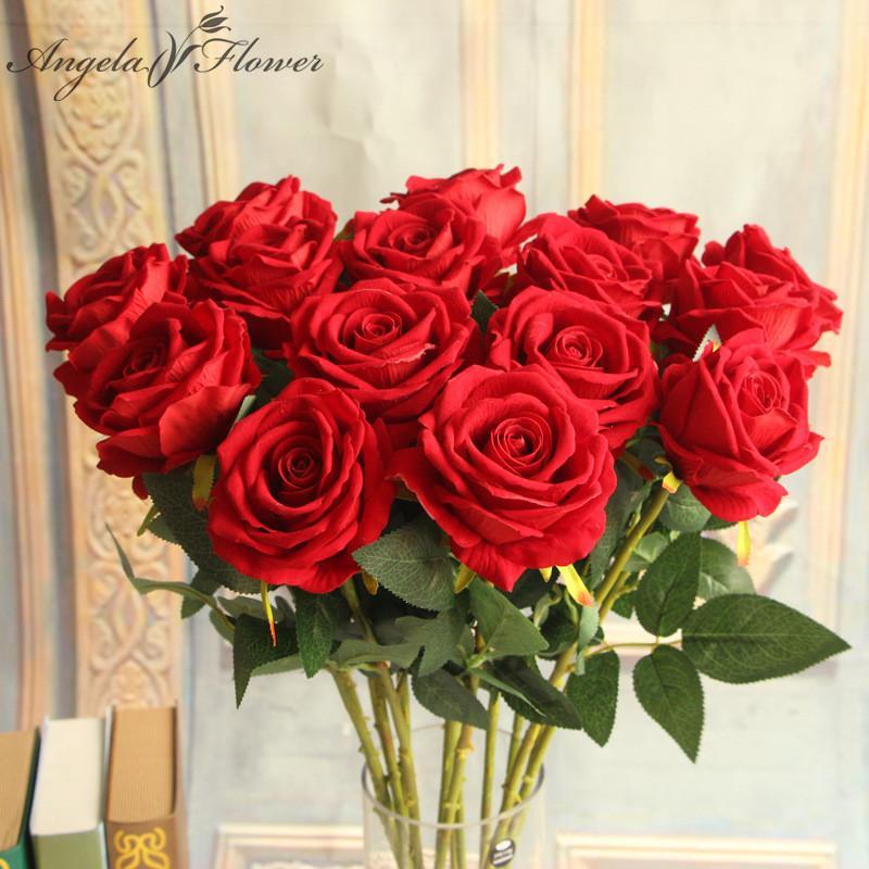 Dekorative künstliche Blumen des Hotels 6pcs / lot bringen dekorative silk Rosen-Blumen für Farbendekor der Hochzeitsfest-Dekoration 6 unter
