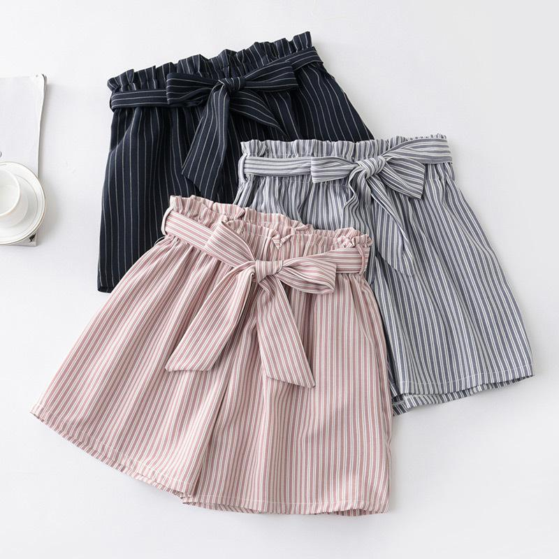 New Summer Houndstooth Bow Sashes Striped Shorts Women Elegant Slim Thin Plaid Wide Leg Shorts Loose High Waist Dot Shorts Mw468 Y190429