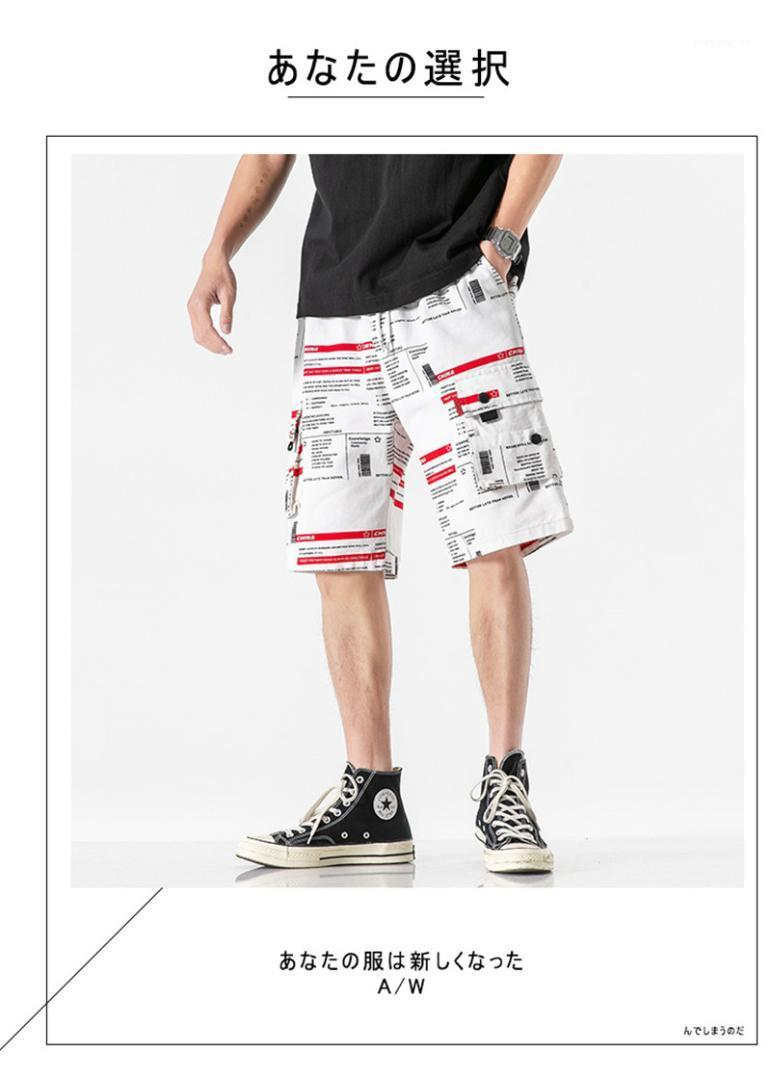 Imprimir joelho Botão Pockets calças dos homens Casual Masculino Vestuário dos homens do desenhista Verão Shorts Pants Letter