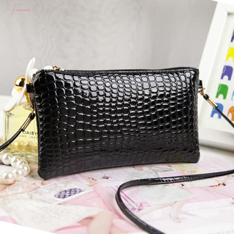 Новый способ прибытия сумки Lady лакированной кожа крокодил Сумка Сумка Малого Pu кожа плечо Crossbody сумка женщины сумка сцепление
