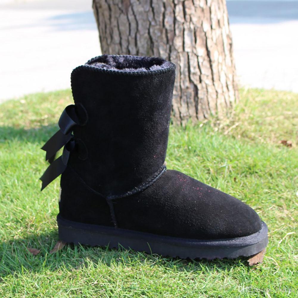 Kadınlar için 2020 klasik avustralya kış botları siyah, mavi, pembe kahve tasarımcı kar kürk çizme ayak bileği diz ayakkabı womens kestane