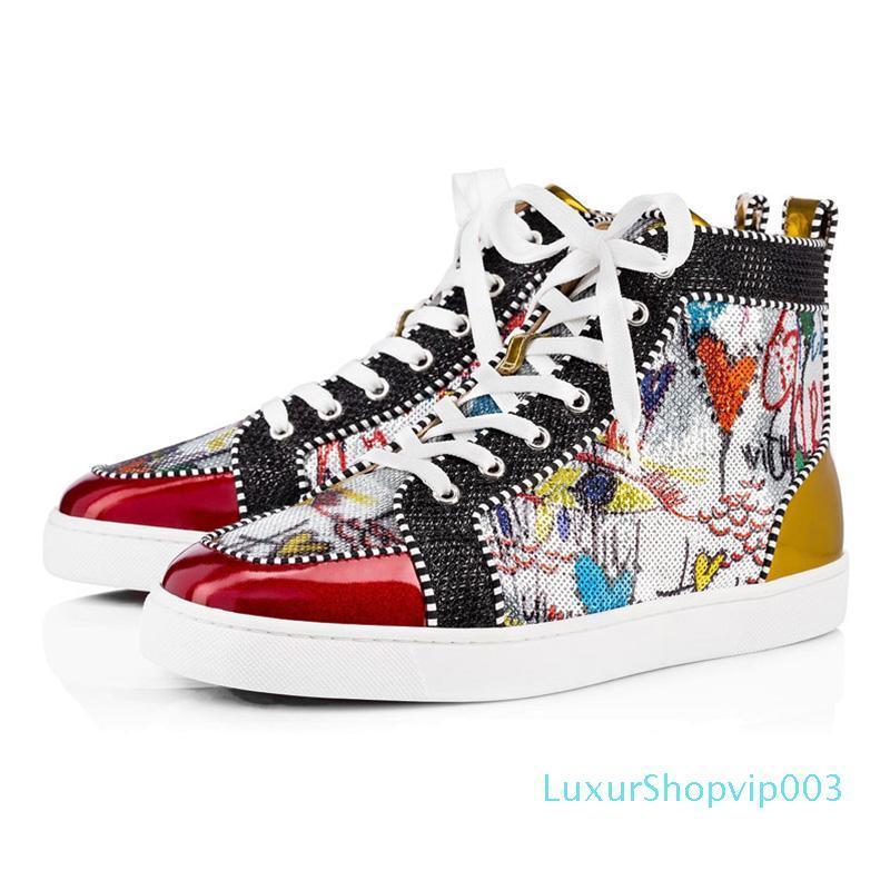 дизайнерская обувь мужчины женщины Chaussures шипованные шиповые кроссовки тройной черный белый красный кожа замша плоские днища повседневная обувь
