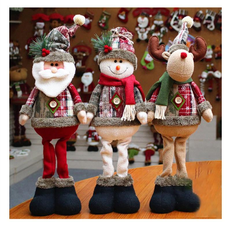 Poupées Père Noël Bonhomme de neige Elk debout après poupée Accueil Bureau Fenêtre Décoration de Noël décoratifs de bureau