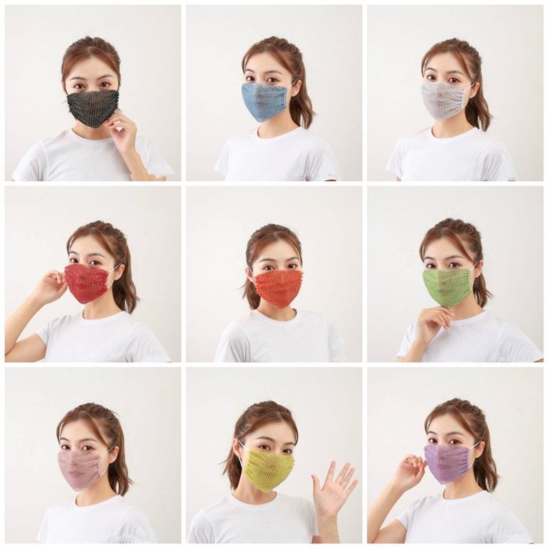 Moda Elmas Tozu Dayanıklı Elmas Yıkanabilir Tekrar Kullanılabilir Bar Parti Tasarım Yüz T3I5883 Maskesi Maske payet