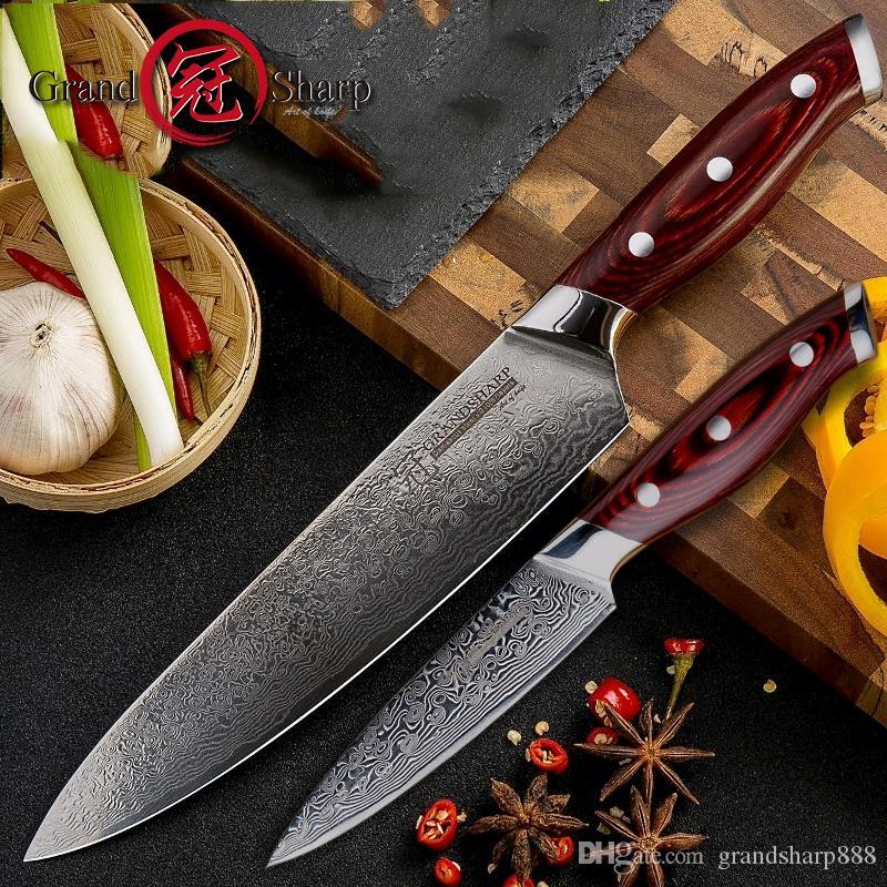 Damaskus Messer-Set 2 Stück Damaskus japanisches Edelstahl VG10 Chef Gebrauchsmesser Kochen Küche Kochmesser Pro Cooking Tools