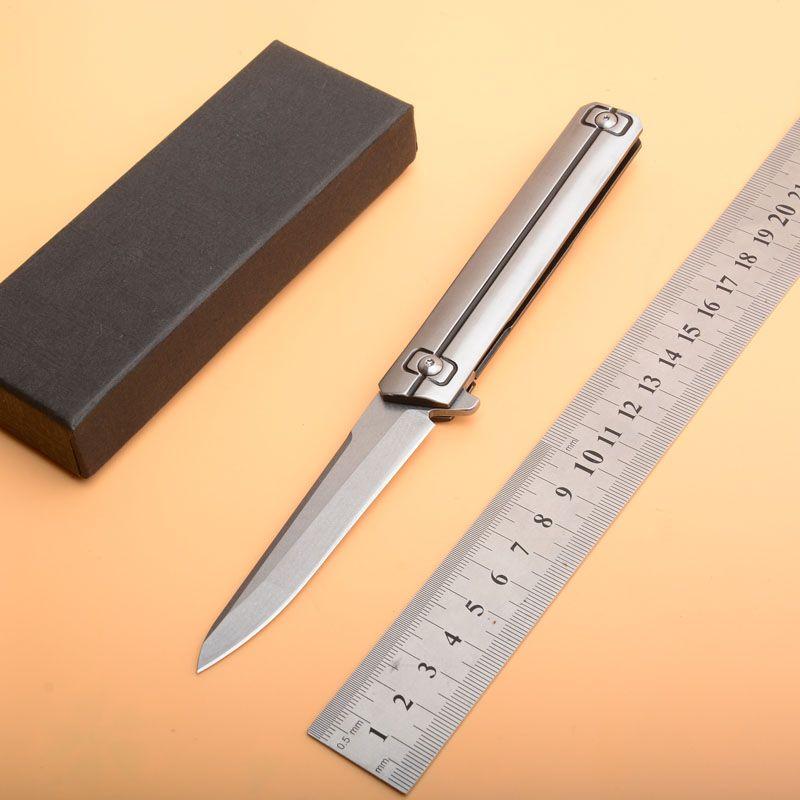 Coltello pieghevole a pinza di alta qualità D2 Lama di lavaggio in pietra Maniglia a sfere in acciaio inossidabile Coltelli ad apertura rapida Coltello EDC