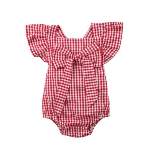 Newborn Baby Boys Girl Grid Ruffles Romper Jumpsuit Sunsuit Outfits Clothes Set
