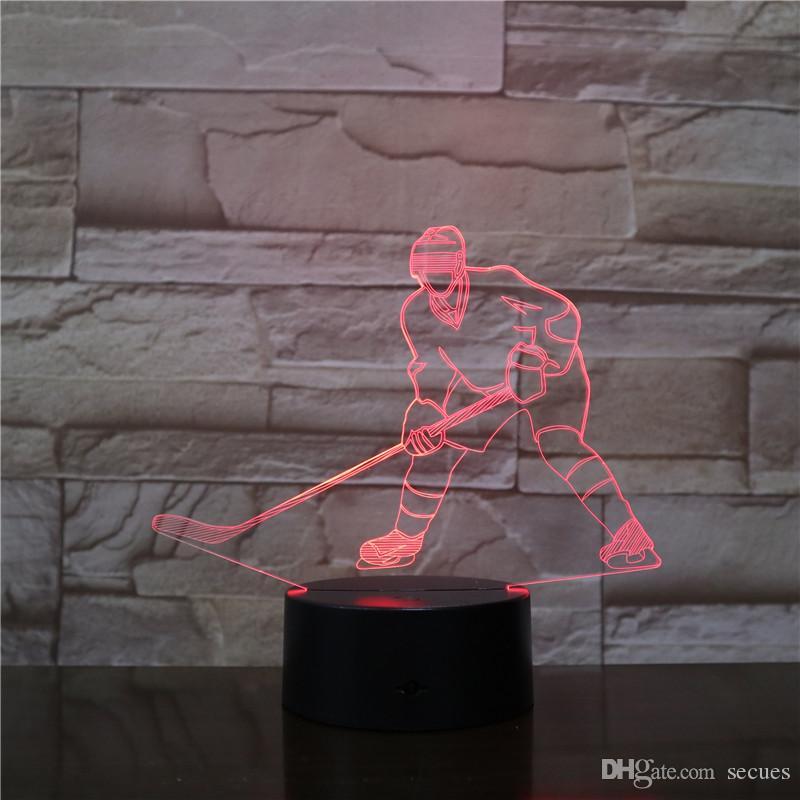 Ice Hockey 3D Optical Illusion LED Lamp Light 10 LEDs Acrylic Light Panel DC 5V Factory Wholesale