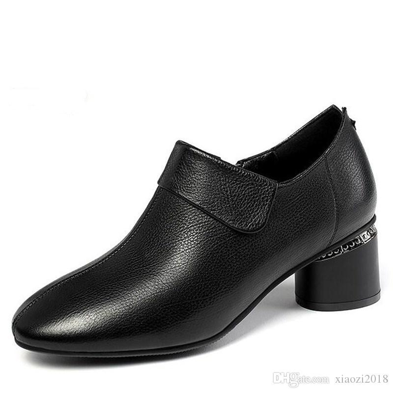 İyi Satış Üst Yumuşak inek derisi Deri Ayakkabı Yüksek topuk ayakkabı İlkbahar Yeni Moda Ayakkabılar Zarif Rahatlık Charm Mizaç Kadınlar Ayakkabı