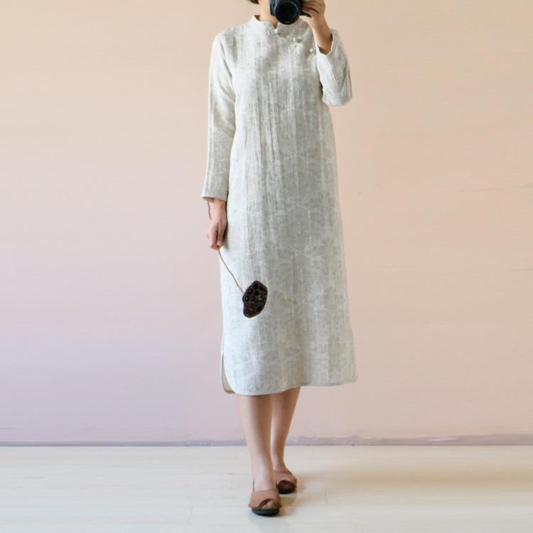 Оригинальные Осенние Хлопок Жаккард Улучшилось Cheongsam Платье Длинный Участок Китайский Литературный Стиль Плита Кнопки Платье