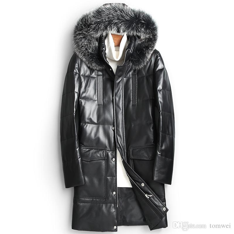 Mens sheepskin leather down jacket long winter coats hoodies snow parkas white duck down padded fox fur collar warm outerwear overcoat M-4XL