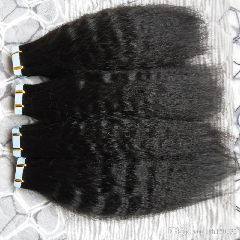 거친 구이 테이프 머리 확장 100 % 브라질 레미 인간의 머리 80 개 200 그램 패키지 변태 스트레이트 피부 씨실 테이프 인간의 머리 확장