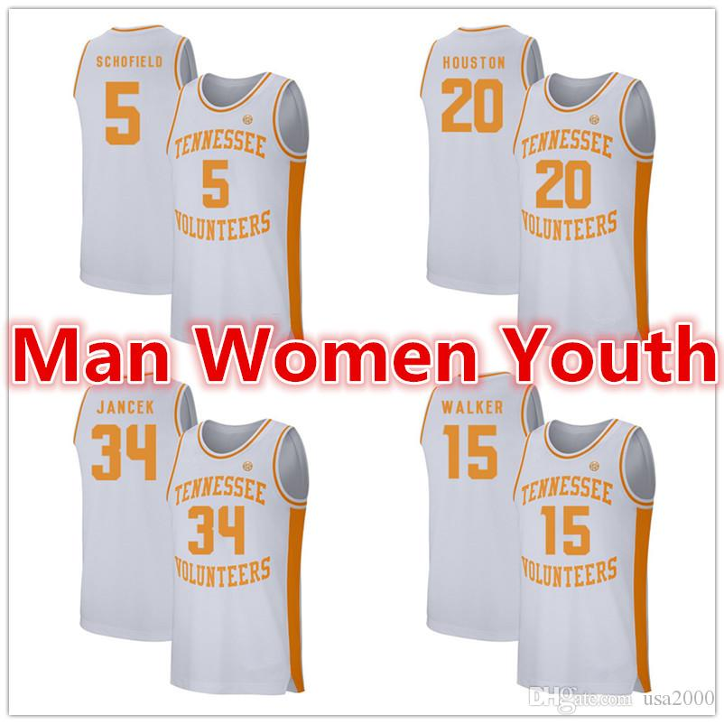 настройка NCAA Tennessee VOLS баскетбольные майки Admiral Schofield 5 Allan Houston 20 Brock Jancek 34 Derrick Walker майки любое имя S-5XL